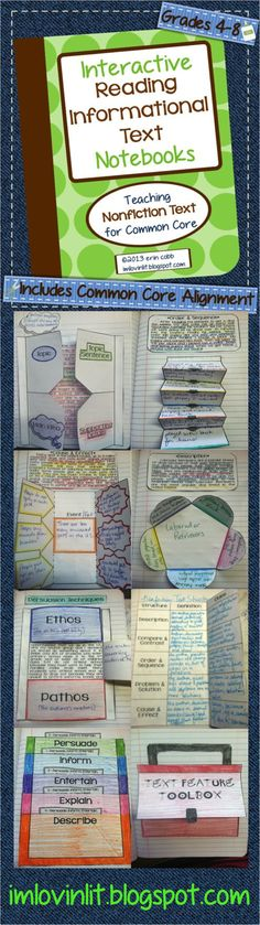 Grades 4-8. Interactive Reading Notebooks: Informational Text  ~ Teaching Nonfiction Strategies for Common Core. Some topics: main idea, outlining nonfiction, summarizing, author's purpose, text structure (description, problem/solution, cause/effect, order/sequence, compare/contrast, persuasion techniques, primary and secondary sources, nonfiction text features. Includes Common Core Alignment and 14 original nonfiction passages for teaching each strategy. $9