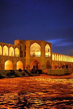 Siosepol Bridge in Isfahan , IRAN