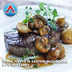 How do you take your steak? Try this recipe topped with sautéed mushrooms and baby spinach salad. (All Phases)