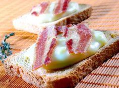 Creme de queijo e ovos com bacon