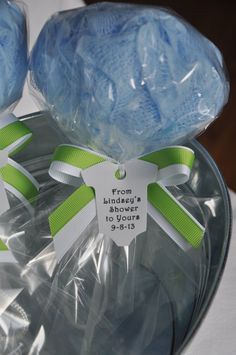 Blue Ready to Pop Baby Shower Favor Bath Puff Lollipop with Tag