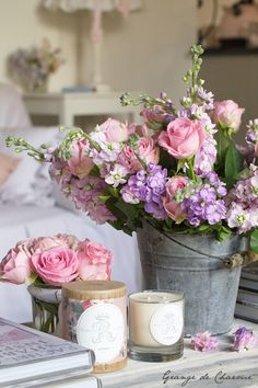 Flowers on flowers decor, bouquet, pink roses, shabby chic, bucket, ana rosa, floral arrangements, flowers, garden