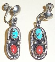 "1-1/2"" dangle earrings. Sterling with turquoise and coral. Screw on style. MX3581 $15"