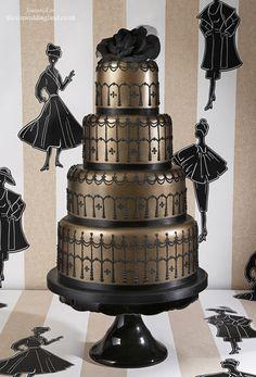 Let them eat cake: unique gold and black wedding cake fashion cakes, gold weddings, cake wedding, black weddings, cake design, cake wreck, wedding cakes, black gold, unique weddings