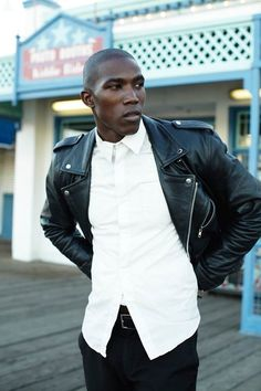 white shirt - leather jacket - cool