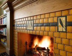 Craftsman style tiled fireplace