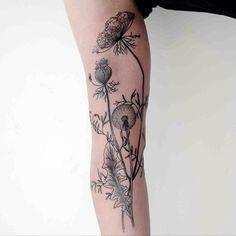 botanical tattoos, tattoo plant, tattoo flowers, mushroom tattoo, arm tattoos, plant tattoo, nature tattoos, floral tattoos, thistl