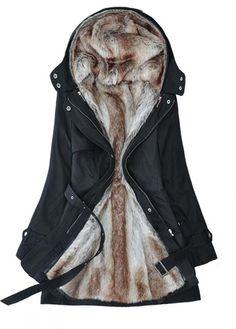 Woman Plus Size Zipper Closure Black Hooded Coats