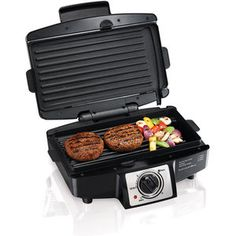 "Hamilton Beach 4-Burger 110"" Grill with Removable Grids"