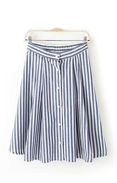 Blue White Vertical Stripes Printing Buttons Decorated Skirt skirt, blue, stripe
