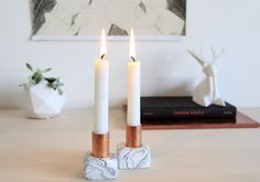 COPPER AND MARBLE CANDLEHOLDER