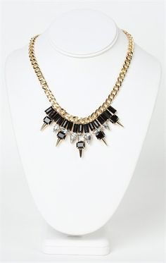 Deb Shops short #statement #necklace with chunky spikes and stones $10.87