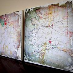 Distressed map canvas.