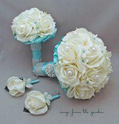 Bridal Bouquet Stephanotis Roses Tiffany Blue Ribbon Bridesmaid Bouquet Groom's Groomsmen Boutonniere Real Touch Bouquet Aqua Tiffany Blue