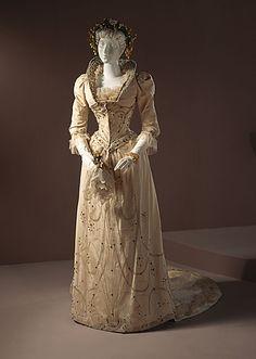 wedding dress, early 1890s?