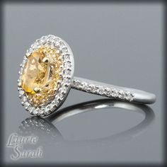 14kt White Gold Citrine Engagement Ring with by LaurieSarahDesigns, $1540.50 Engagement Ring