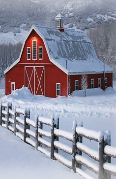 Country living in the winter snow ...