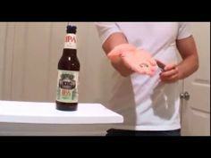 Opening a bottled BEER with a FRIDGE MAGNET and QUARTER