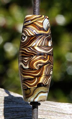 Twisted Totem Handmade Lampworked Glass Bead OOAK by ninaeagle, $20.99