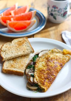 Spinach & Mushroom Omelette Recipe with Turmeric by SeasonwithSpice.com