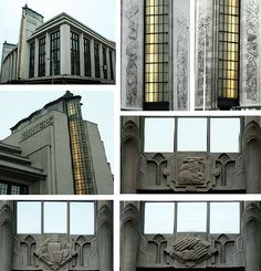 This Portland stone building has beautiful clean lines and there are some wonderful art deco features: long vertical glass drops on the towers, zigzag tops to the towers, ziggurat roofline, bas relief metalwork panels, ca 1933.