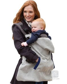 Keep your hands and Baby's head toasty in this soft baby carrier hoodie. Click above to buy one to fight the winter chill!
