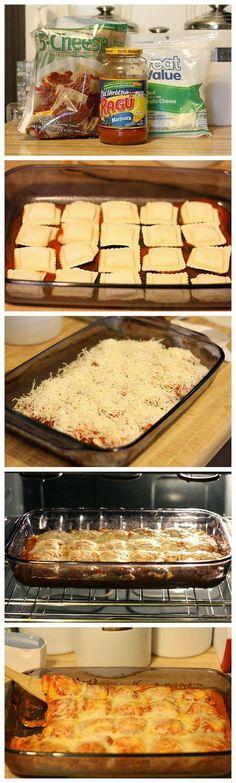 Baked Ravioli - 1 bag (25oz) Frozen Ravioli, 1 jar (26oz) Marinara, 2 cups Shredded Mozzarella, Parmesan for Sprinkling - Preheat oven 400F. Spray 9x13 baking dish w/cooking spray. Spread 3/4 cup pasta sauce. Arrange half of frozen ravioli in single layer over sauce, top with half remaining pasta sauce