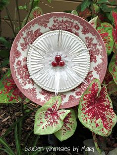 Red & White Plate flower by Garden Whimsies by Mary