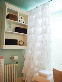 'd like your completed shower curtain to be machine washable, first launder all fabrics — both the ready-made shower curtain and king-size sheets. Cut hemmed edges off sheets, then cut sheets