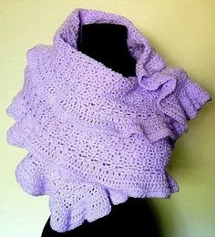 Crochet+Shawl+Patterns+for+Beginners | Ruffled Shawl Wrap Crochet Pattern PDF EASY by timaryart on Etsy