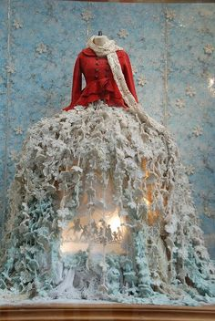 skirt, holiday, store window display, store windows, window displays, christmas windows, bridal party dresses, store displays, winter scenes