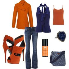 Orange and Blue, created by cbaczuk on Polyvore