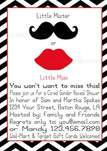 Retro Gender Reveal Baby Shower Invitation Digital File 5x7 Mustache Lips | eBay