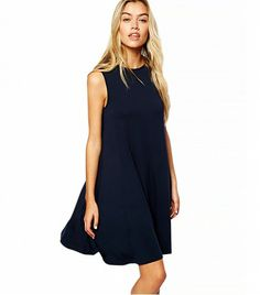 ASOS Sleevless Swing Dress in Navy - only $35 and simple enough to wear anywhere!