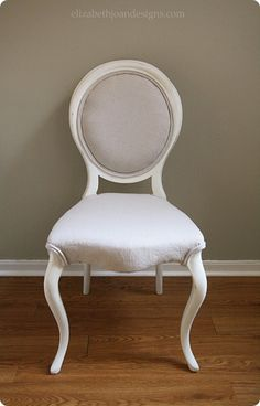 This curbside chair got a gorgeous Restoration Hardware inspired makeover with white paint and drop cloth upholstery.