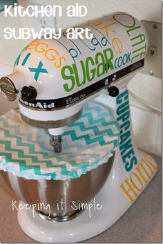Subway Art Kitchen Aid Vinyl Decals with your Silhouette #kitchenaid #vinyl #keepingitsimple