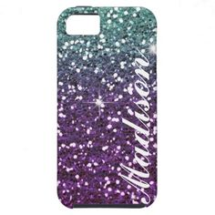 Personalized ombre purple Glitter IPhone5  Case iPhone 5 Cases