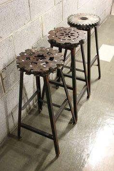 Gears repurposed as stools. But, um, sit ... carefully???