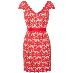 Hoss Intropia Lace Crochet Dress, Red found on Polyvore