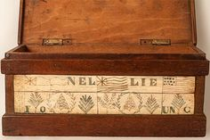 Sailor made parquetry and whalebone box. The top is inlaid with the three multi-wood stars with engraved whalebone. The front is also engrav...