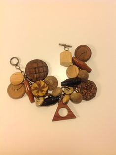 A Wooden Vintage Button Charm Bracelet by no4daughter on Etsy, $40.00