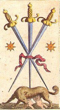 Three of Swords, tarot image (The Capitoline Wolf with Romulus & Remus).