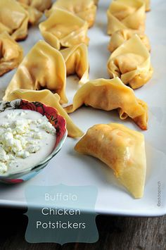 Buffalo Chicken Potstickers... with a blue cheese & Greek yogurt sauce?