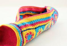 Homemade crochet colorful pencil case
