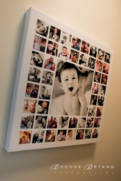 1st year canvas. One large image, lots of small squared images mod-podged onto a canvas. A way to use and display so many of the pictures just hidden away on the hard drive! - Click image to find more Home Decor Pinterest pins