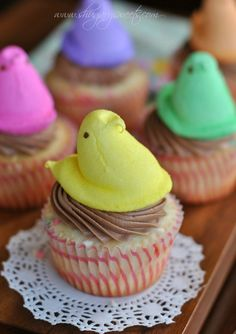 Funfetti Cupcakes with Chocolate Cream Cheese Frosting and Peeps!
