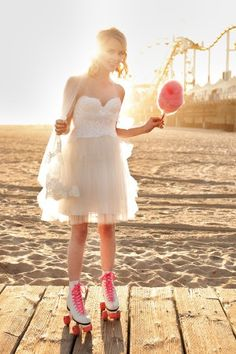 so cute with roller skates and cotton candy!