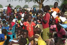 A makeshift primary school for students at the UNMISS displaced persons camp in Bor, Jonglei state, South Sudan. Photo: UNMISS/Mihad Abdalla...