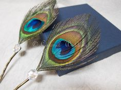 Set of 2 Peacock Feather Bobby Pins Hair Piece Peacock by CarmelWedding, $14.99