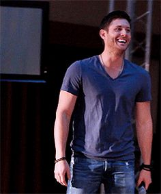 Jensen Ackles laughing (gif)